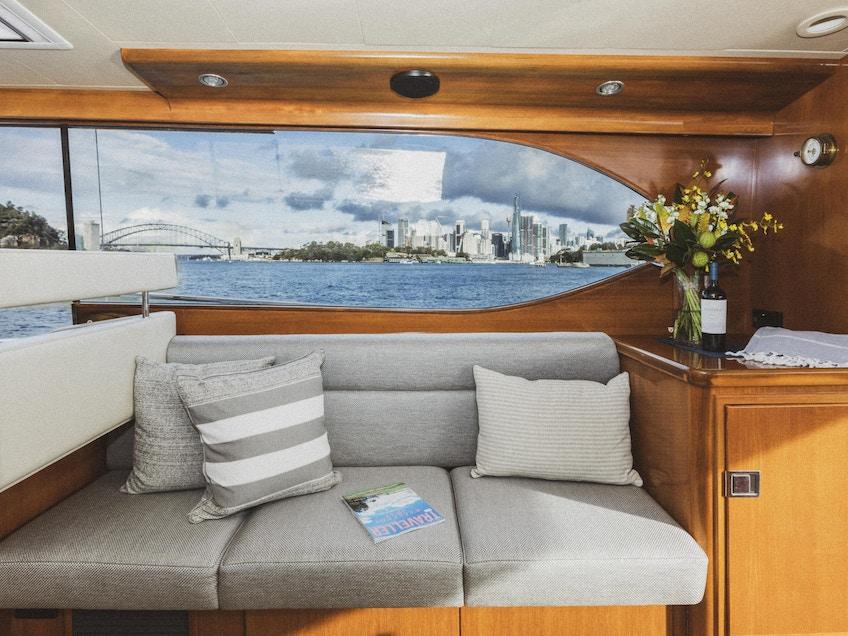 A glimpse inside Sydney luxury boat hire Felix's lounge area