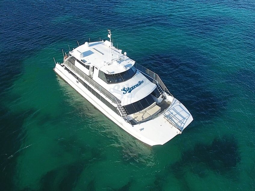 Perth luxury yacht hire Silverado from above