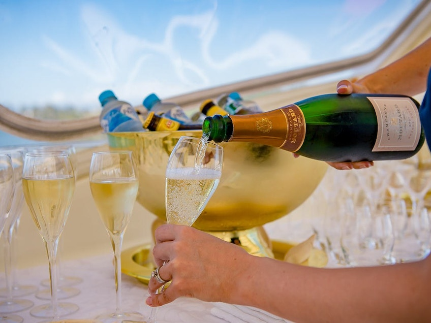 Champagne on PATRIOT 1, a Brisbane and Gold Coast boat hire