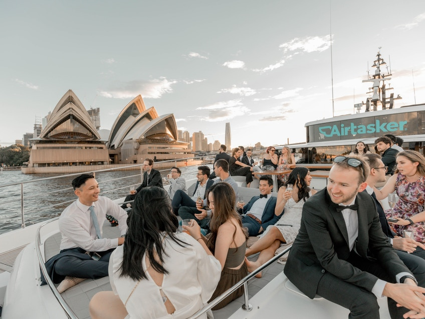 Airtasker group aboard One World, Sydney Harbour luxury boat hire