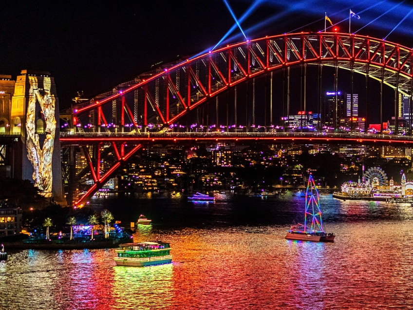 Views of Harbour Lights installations on marine vessels moving across Sydney Harbour during Vivid Sydney 2019.